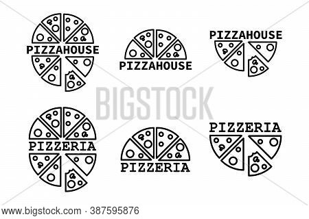 Set Of Logos For Pizzeria And Pizza Home Delivery. Collection Of 6 Vector Templates For Pizza Logos