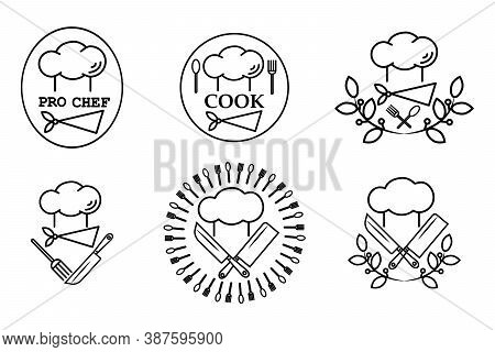 Culinary Vector Templates With Cooking Supplies, Hats And Neckerchief. Isolated Over White Backgroun
