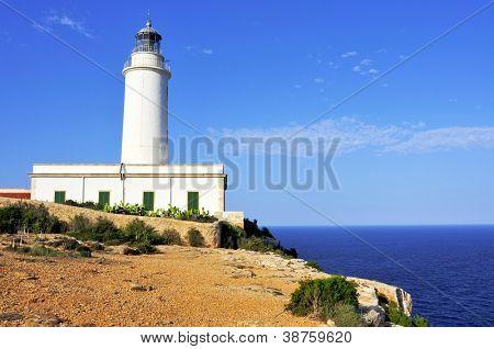 View of beacon Far de la Mola in Formentera, Balearic Islands, Spain