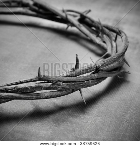 closeup of a representation of the Jesus Christ crown of thorns in black and white
