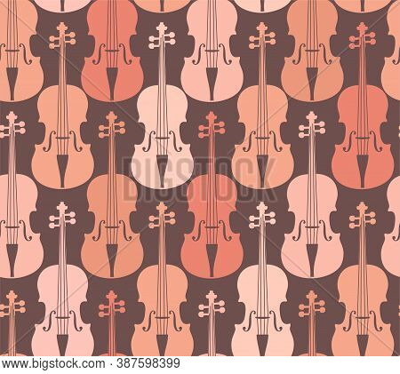 Pink Violins, Seamless Pattern. Pink Violins On A Gray Field. Color, Flat Decor. Vector.