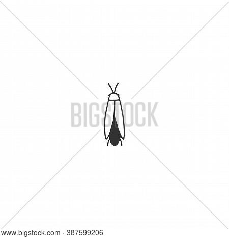 Vector Insect Icon, A Firefly, Firebug. Hand Drawn Simple Illustration.
