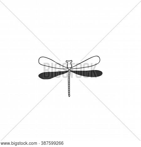 Vector Insect Icon, A Dragonfly, Flier. Minimal Hand Drawn Illustration.