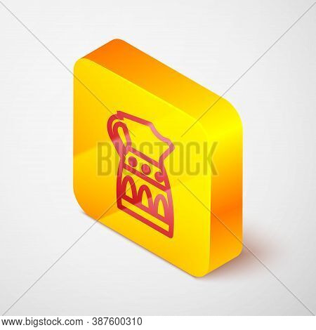 Isometric Line Sangria Pitcher Icon Isolated On Grey Background. Traditional Spanish Drink. Yellow S