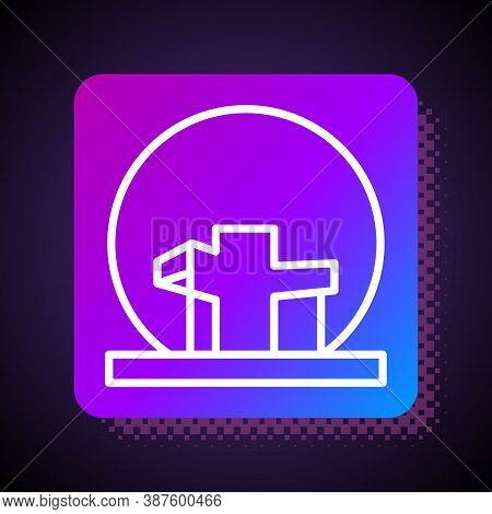 White Line Montreal Biosphere Icon Isolated On Black Background. Square Color Button. Vector