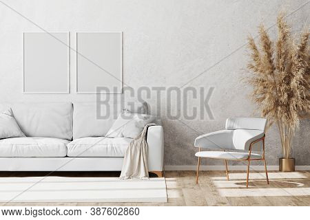 Blank White Vertical Frames Mock Up In Light Coloured Minimalistic Living Room Interior With White A