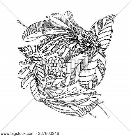 Flower Doodle. Art Design Element Hand Drawn Monochrome Sketch Stock Vector Illustration For Web, Fo