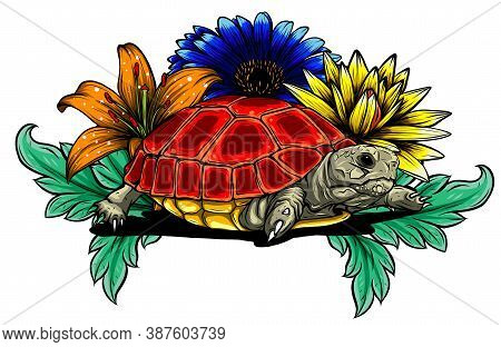Land Turtle In The Jungle Vector Illustration