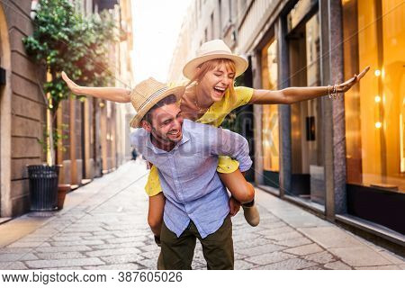 Happy Couple Shopping In The City Centre