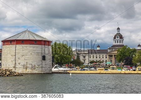 Shoal Tower, Kingston, Ontario, August 2014 - Boats And Limestone Fortification On The Waterfront Wi