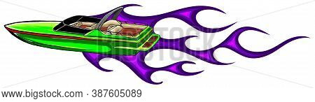 Speedboat Flames Vector Illustration. Luxury And Expensive Boat.