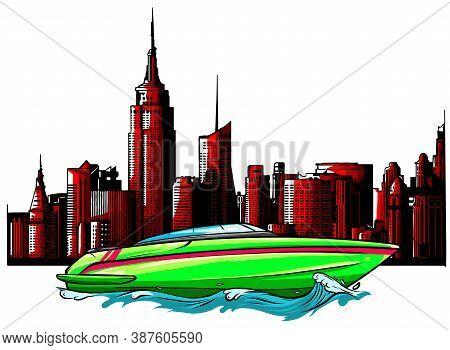 Speed Luxury Boat On City Background Vector Illustration