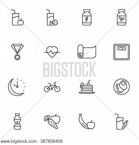 Sport Nutrition Line Icons Set, Outline Vector Symbol Collection, Linear Style Pictogram Pack. Signs
