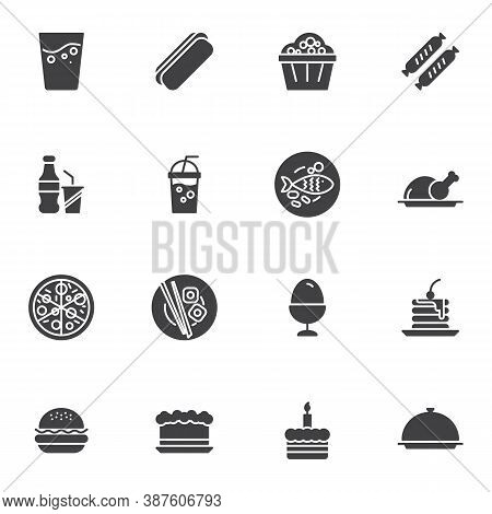 Restaurant Food Vector Icons Set, Modern Solid Symbol Collection, Filled Style Pictogram Pack. Signs