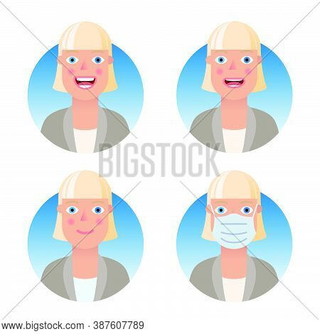 Avatars For Business And Social Media Accounts Set. Blue-eyed Blonde In A Business Suit. Various Emo