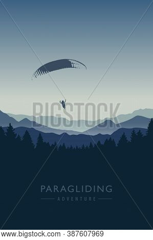 Paragliding Adventure On Blue Mountain Background Vector Illustration Eps10