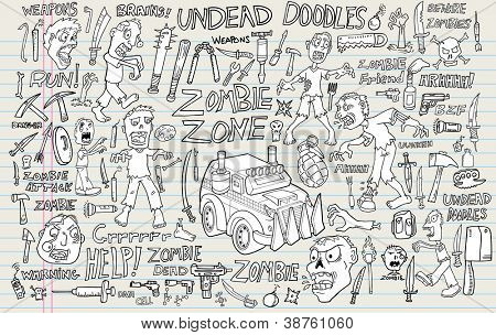 Zombie Undead Doodle Vector Illustration Set