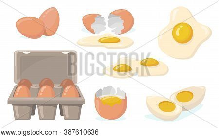 Raw, Broken, Boiled And Fried Eggs Flat Item Set. Cartoon Domestic Chicken Eggs With Yellow Yolk Iso
