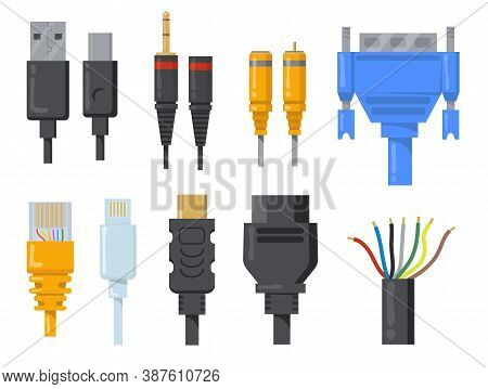 Computer Cables, Wires And Cords Flat Item Set. Cartoon Black And Colored Connectors For Hdmi Or Vga