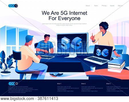 We Are 5g Internet For Everyone Isometric Landing Page. Network Communication System, 5g Technology