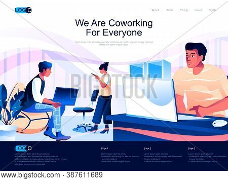 We Are Coworking For Everyone Isometric Landing Page. Workspace For Teamwork Isometry Website Page.