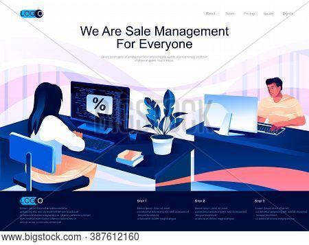 We Are Sale Management For Everyone Isometric Landing Page. Analyzing And Developing Salesforce Isom