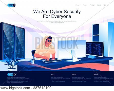 We Are Cyber Security For Everyone Isometric Landing Page. Cybersecurity Assistance Provider Isometr