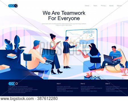We Are Teamwork For Everyone Isometric Landing Page. Partnership And Collaboration Isometry Website