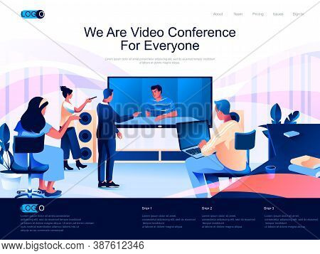 We Are Video Conference For Everyone Isometric Landing Page. Internet Communication Isometry Website