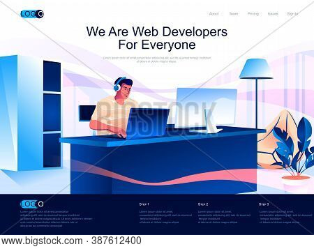 We Are Web Developers For Everyone Isometric Landing Page. Full Stack Development Isometry Website.