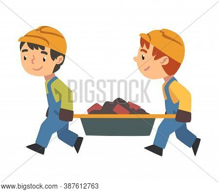 Two Boy Construction Workers Arrying Construction Waste Together, Cute Little Builder Character Wear