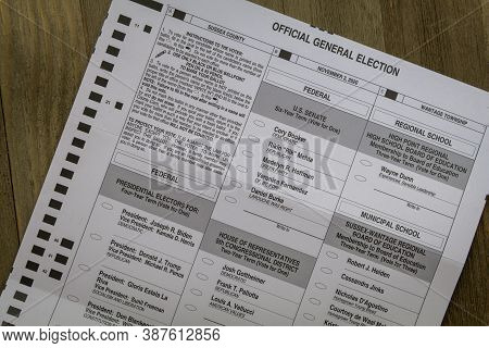 Sussex, Nj / Usa - September 29, 2020:  Mail-in Ballot For The United States Presidential Election A