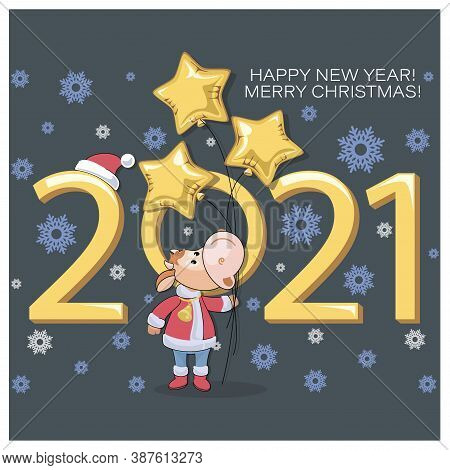 Little Calf. Bull Symbol Of New Year 2021. Merry Christmas. Cute Calf With Balloons, Golden Star
