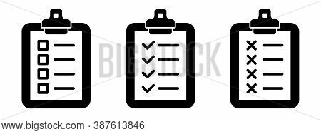 Clipboard Checklist Or Document. Vector Isolated Icons Or Signs. Clipboard With Checkmark Cross And