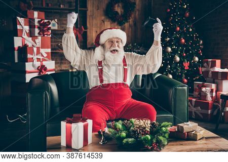 Photo Of Crazy Addicted Grey Beard Santa Claus Sit Ouch Have Funny X-mas Noel Party Play Video Game