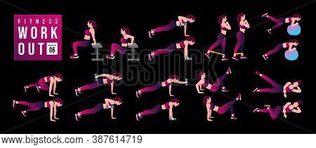 Women Workout Set 04 . Women Exercise Vector Set. Women Doing Fitness And Yoga Exercises. Lunges, Pu