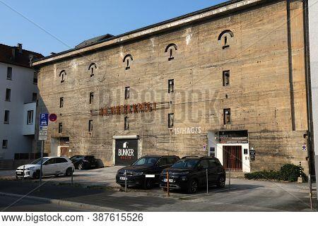 Hagen, Germany - September 16, 2020: Former Wartime Bunker In Downtown Hagen, Germany. Currently Rep