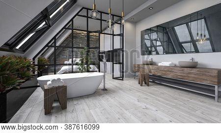 Modern design bathroom interior with bathtub. 3d Render.