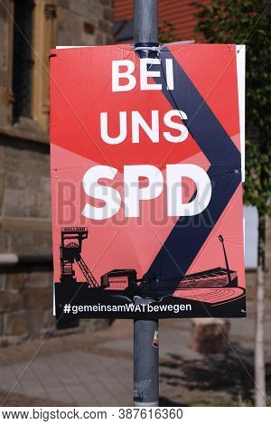 Bochum, Germany - September 17, 2020: Election Posters Of Spd Political Party Before Runoff Vote For