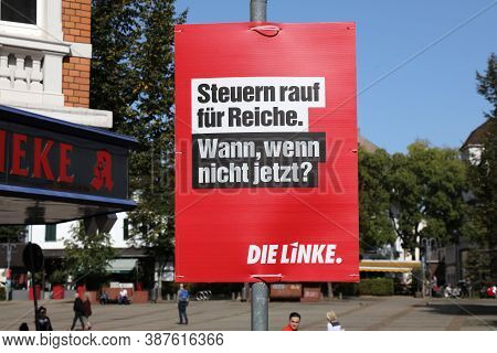 Bochum, Germany - September 17, 2020: Election Posters Of Die Linke (the Left) Political Party Befor