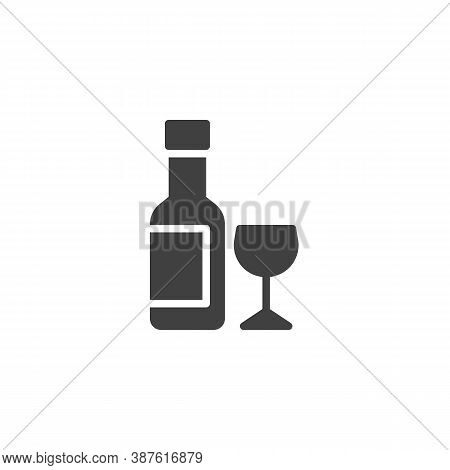Wine Bottle And Glass Vector Icon. Filled Flat Sign For Mobile Concept And Web Design. Wine Glass Wi