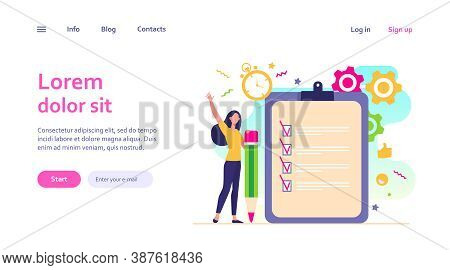Checklist Or Survey Concepts. Woman With Pencil Checking Boxes In Task List. Vector Illustration For