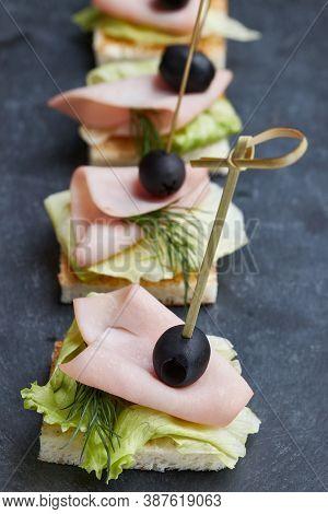 Snack - Italian Bruschetta On A Wooden Board, Traditional Food, High Key