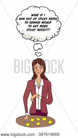 Color Cartoon Of A Business Woman Thinking About Running Out Of Sticky Notes To Remind Herself To Pu