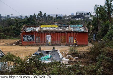 Puri, India - February 3, 2020: An Unidentified Man Walks Outside D.a.v Public School On February 3,