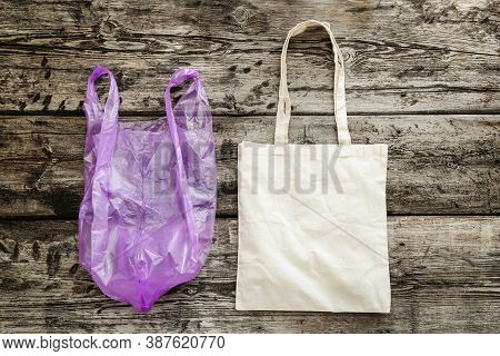 Zero Waste. Bag Canvas Fabric For Mockup Blank Template On Wooden Background. Ecology And Environmen