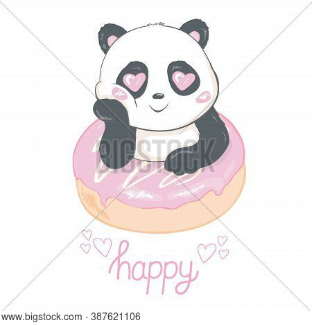 Cute Panda Eating Donut Flat Vector Illustration. Asian Rainforest Bear With Tasty Pastry Isolated D