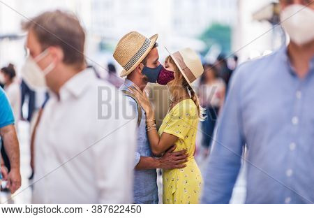 Couple Kissing During Covid-19 Pandemic