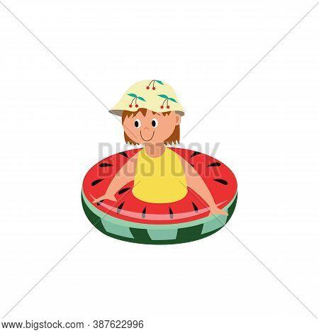 Cute Cartoon Child In Watermelon Life Preserver Belt
