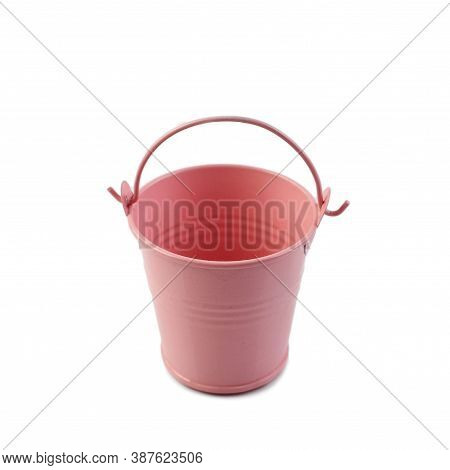 Pink Bucket Isolated On White Background. Decorative Small Bucket, Empty.